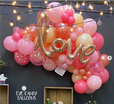 Valentine's Day LOVE organic balloon puff at Eye Candy Balloons