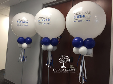 Corporate Balloon Columns and Party Poles | Comcast | Eye Candy Balloons
