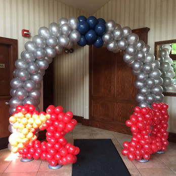 Football Helmet Balloon Arch for Football theme party decorations at Eye Candy Balloons