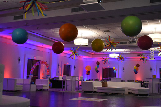 Mitzvah Dance Floor Balloons, Pop Drop Balloons, and Balloon Name Arch by Eye Candy Balloons