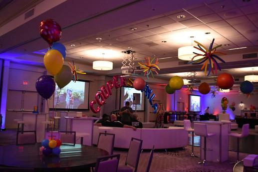 Mitzvah Balloon Arch and Balloon Centerpieces at Event Center Nashua by Eye Candy Balloons