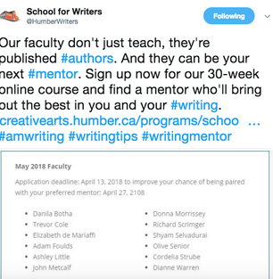 Mentoring at Humber School for Writers- May 2018