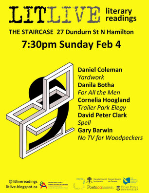 Reading at Lit Live, in Hamilton on February 4th