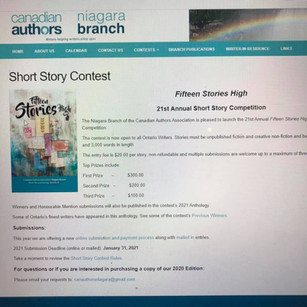 Short Story Contest Judge for Canadian Author's Association