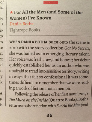 Quill & Quire Review of For All the Men (and Some of the Women) I've Known