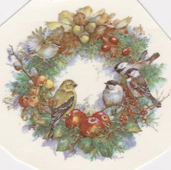 Wreath with Birds Decal