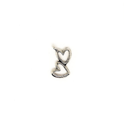 Open Double Heart Charm