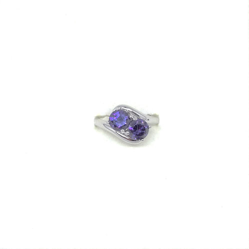 Double Amethyst CZ Ring