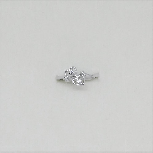 Double Heart CZ Ring