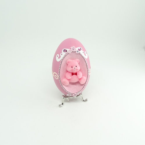 Pink Bear Decorated Goose Shell