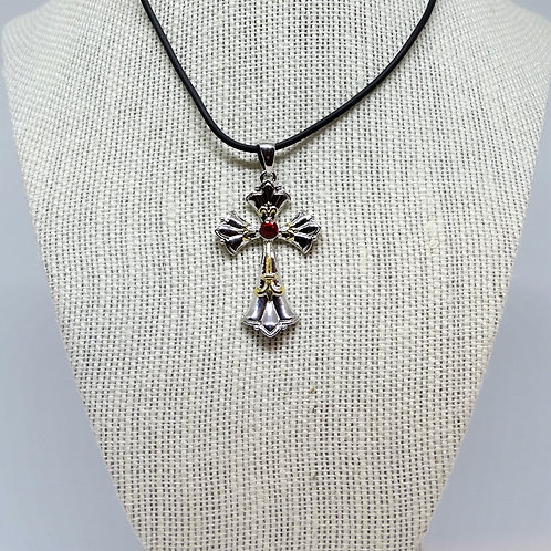 J087 Cross Necklace with Red Stone