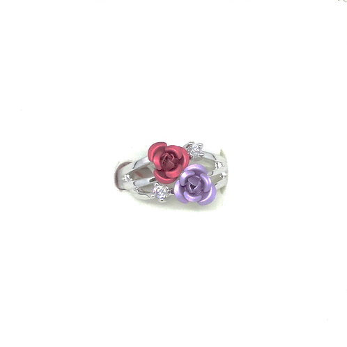 Double Rose Ring with CZ accents
