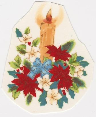 Poinsettia and Candle Decal
