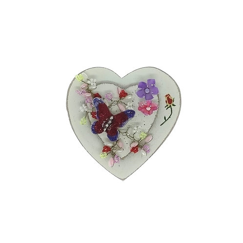 Purple & Red Butterfly Magnetic Heart