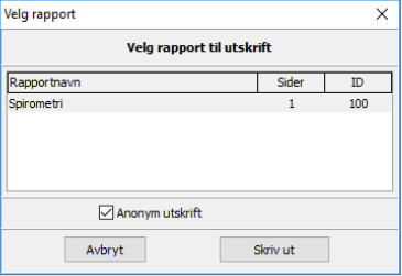 Skrive ut anonymisert rapport