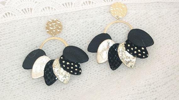 Boucles d'Oreilles Mexico Noir et Paillettes