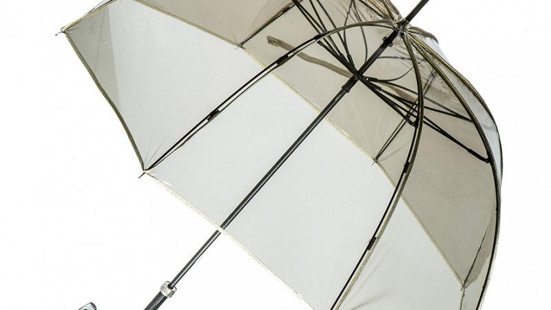 Parapluie Femme Transparent Fumé Bordé Doré