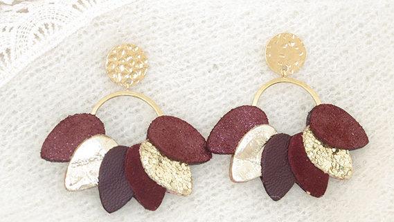 Boucles d'Oreilles Mexico Bordeaux et Or