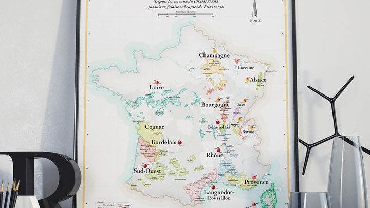 Affiche - La Carte des Vins de France
