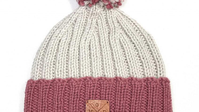 Bonnet à Pompons Amovibles Rose/Crème