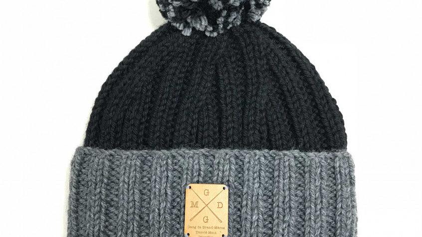 Bonnet à Pompons Amovibles Noir/Gris