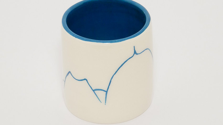 Tasse à Café Blanche Chaine des Puys Bleu