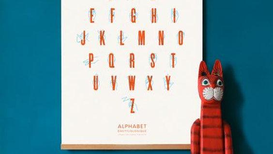 Affiche - Alphabet Dactylologique - Langue des signes - Sérigraphie