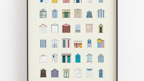 Affiche - Cabines de plage