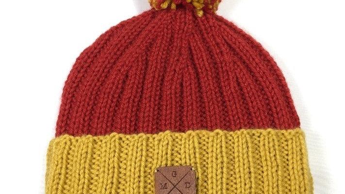 Bonnet à Pompons Amovibles Orange/Moutarde