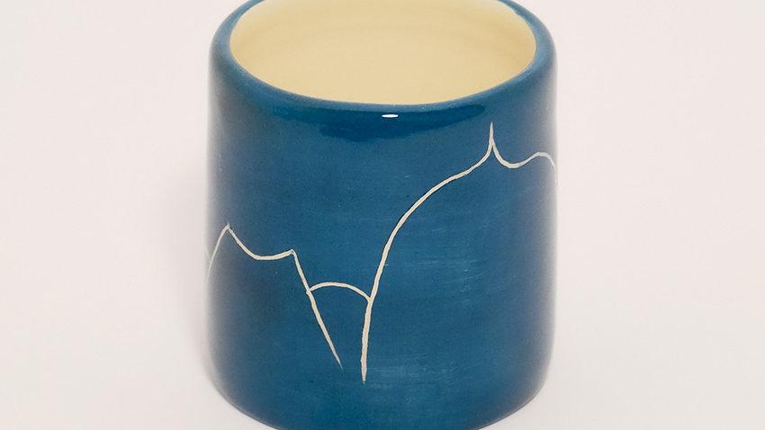 Tasse à Café Bleu Chaine des Puys Blanc