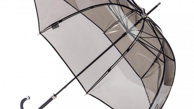 Parapluie Femme Transparent Fumé Bordé Noir