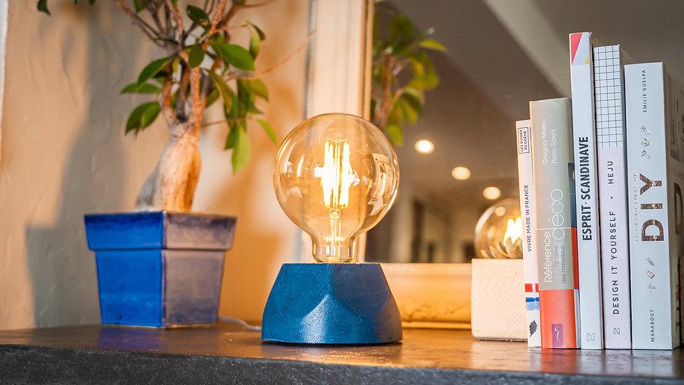 Lampe Béton Hexagone Bleu Pétrol