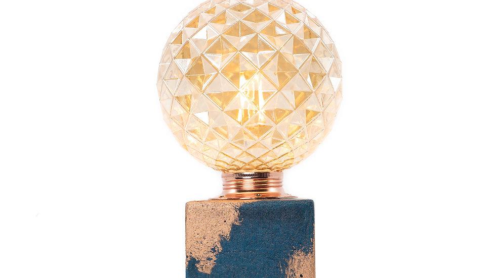 Lampe Béton Patiné Cuivre Bleu