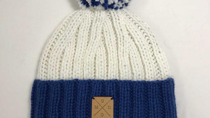 Bonnet à Pompons Amovibles Bleu/Blanc
