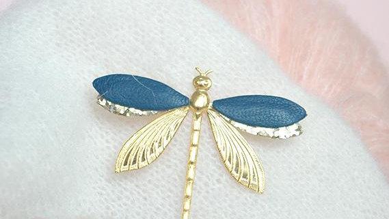 Broche Libellule Bleu Paon