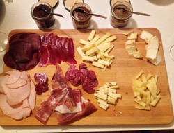 Cured meats and cheese platter