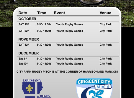 Revised Fall Youth Rugby Schedule