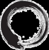 Black and white photo of Japanses Enso symbol