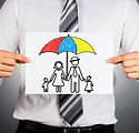 Family insurance concept. Businessman ho