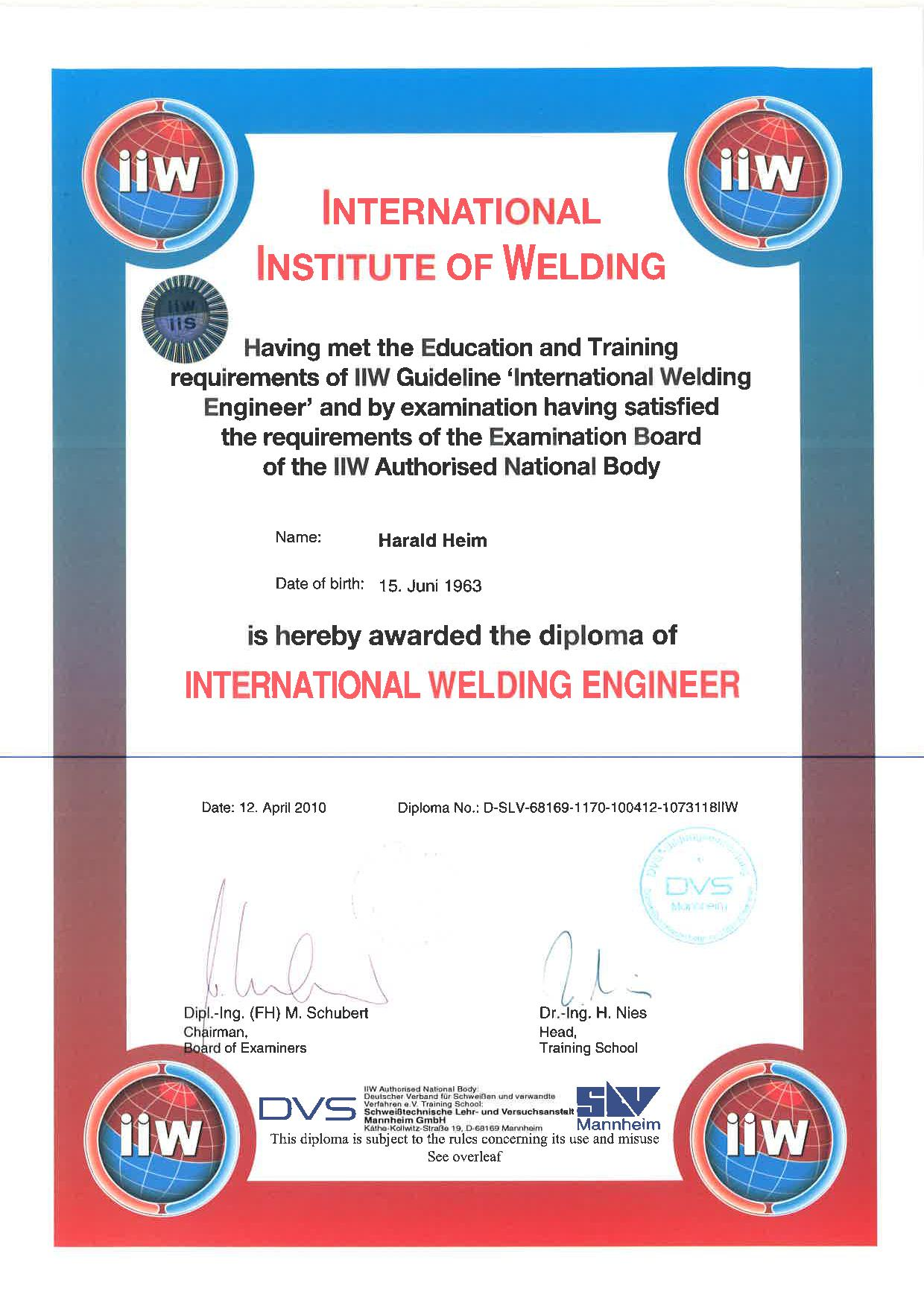 IWE Zertifikat