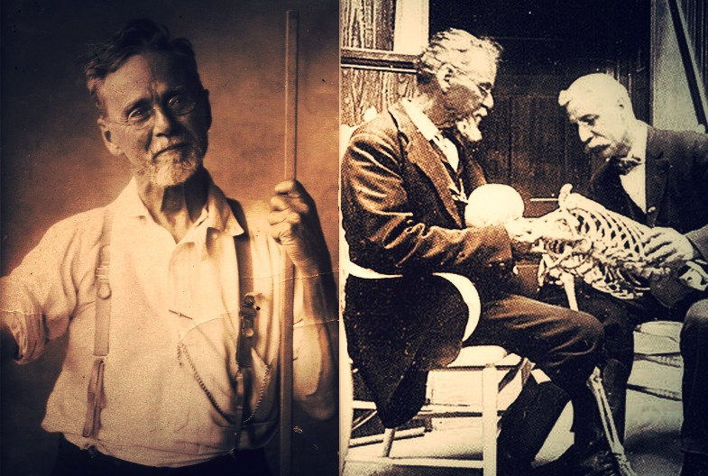2 photos. A gauche en sépia, le fondateur de l'osteopathie qui tient baton. A droite avec un élève