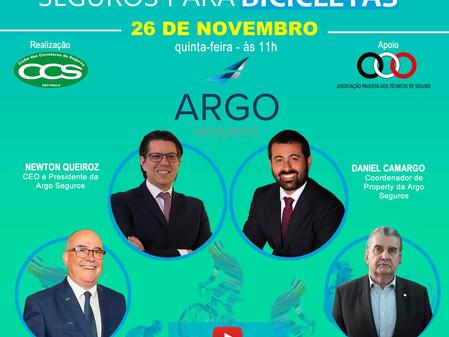 Em parceria com Clube dos Corretores e APTS, Argo realiza webinar sobre seguro de bicicleta