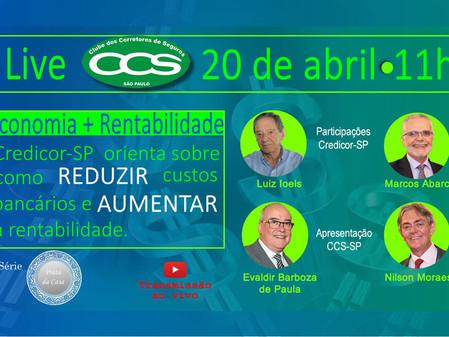 Live do CCS-SP trará dicas e orientações aos corretores sobre economia e rentabilidade