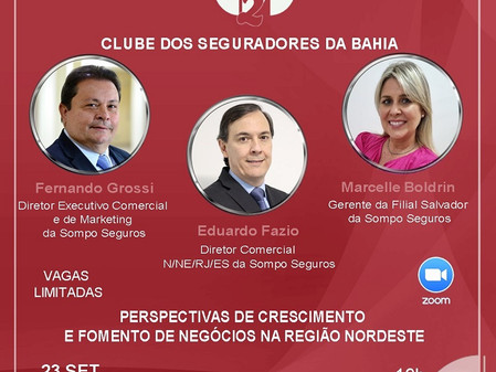 Dia 23/09 - Executivos da Sompo Seguros na live do Clube de Seguradores da Bahia