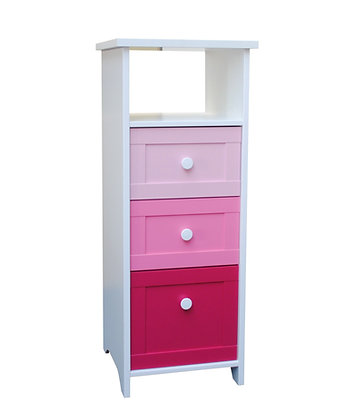 Pink 3 drawer narrow chest