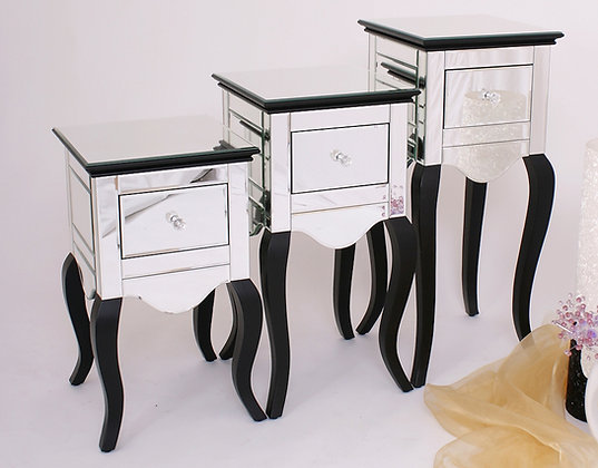 Mirrored 1 drawer bedide with Black legs