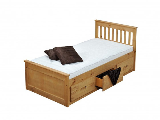 wooden bedframe with storage 3ft