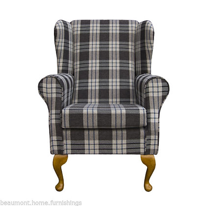 Dark grey tartan winged back fireside chair