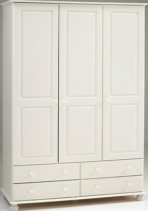 Richard White wooden 3 door 4 Drawer wardrobe