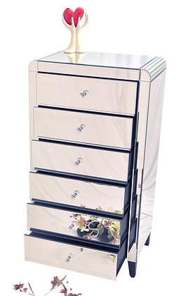 Mirrored Tallboy 6 Drawer Dresser